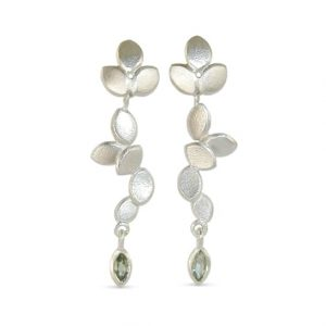 contemporary modern designer handmade bespoke wedding jewellery silver long drop earrings with marquise green sapphire EveE3-G:Sapp marq-sil