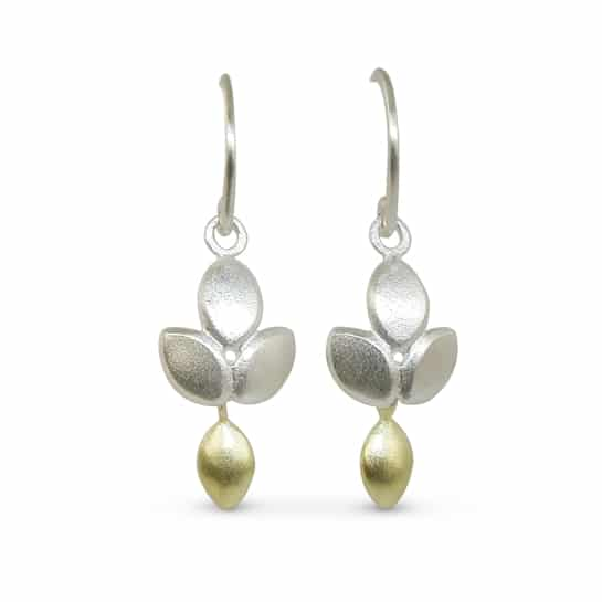 Silver gold drop earrings featuring a divine 18ct gold drop by Jacks Turner