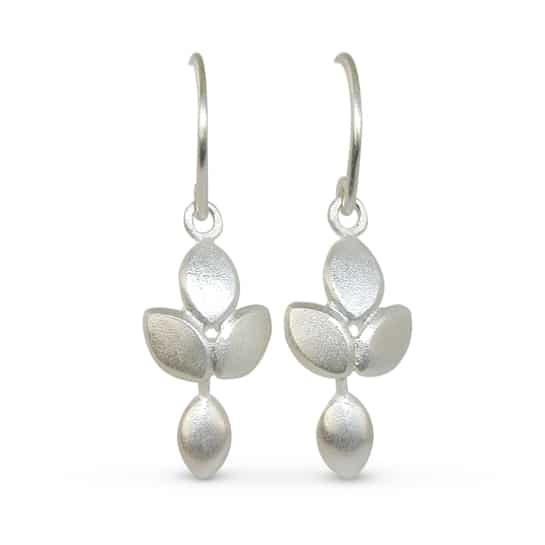 Silver drop earrings in a contemporary satin finish by Jacks Design
