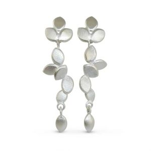 contemporary modern designer handmade bespoke wedding jewellery silver long drop earrings with silver drops EveE3-sil