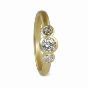 contemporary modern designer handmade bespoke jewellery 18ct yellow gold 3 x diamond engagement ring FCR-3xcups-18Y