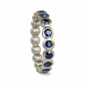 contemporary modern designer handmade bespoke jewellery 18ct white gold sapphire wedding eternity ring -JR11b-multi-sapphire 18W
