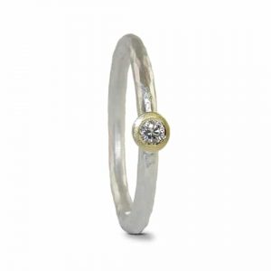 HCR-2.5D-sil/18Y - Jacks Turner contemporary silver & gold diamond engagement ring