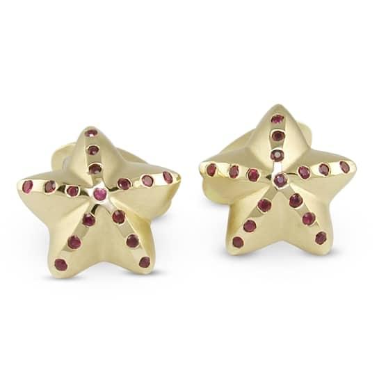 18Ct Yellow Gold Starfish Cufflinks With Rubies