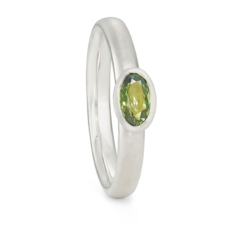 9Ct White Gold Sapphire Ring Green Sapphire Alternative Engagement Ring Designed By Jacks Turner