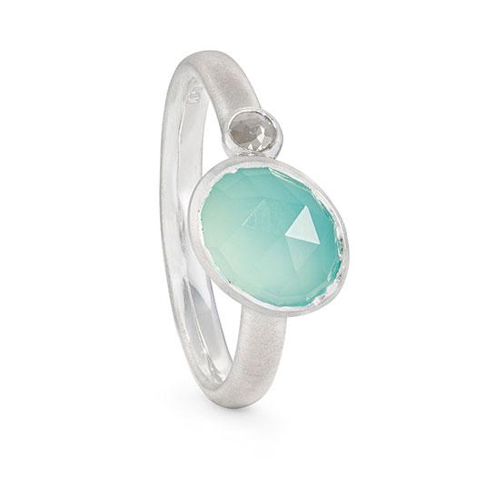 Asymmetric Aqua Chalcedony Ring Diamond Silver Designed Jacks Turner