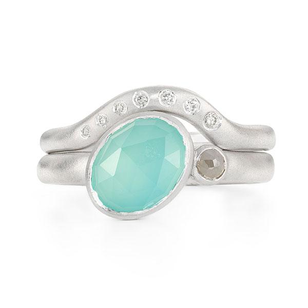 Asymmetric Aqua Chalcedony Diamond Silver Ring Stack By Jacks Turner Bristol