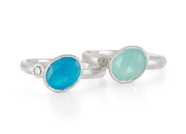 Asymmetric Blue Chalcedony Diamond Silver Rings Designed Jacks Turner Bristol