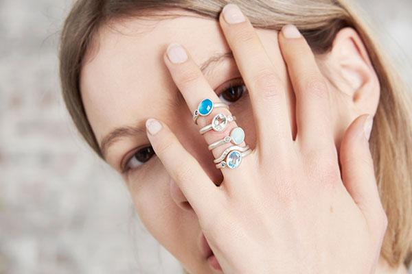 Asymmetric Blue Chalcedony Diamond Silver Rings Stacked On Models Finger Designed Jacks Turner Bristol