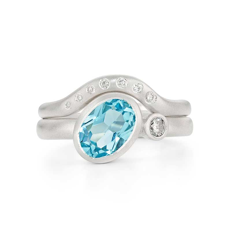 Asymmetric Blue Topaz And Diamond Rings By Jacks Turner