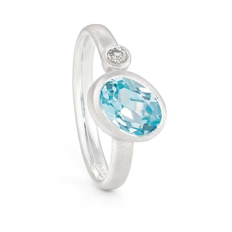 Asymmetric Blue Topaz Diamond Silver Ring By Jacks Turner