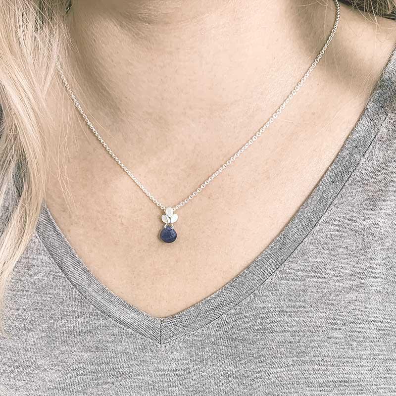 Blue Sapphire Drop Necklace On Model Jacks Turner Designer Jewellery Bristol Uk.