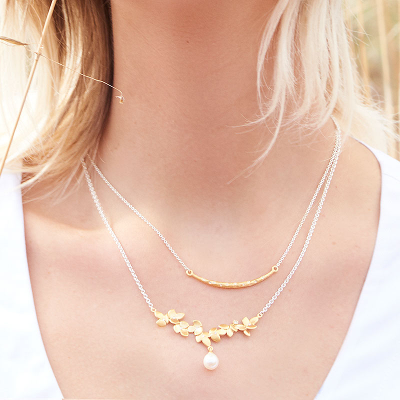 Diamond Pearl Necklace On Model Designed By Jacks Turner Jewellery Bristol Uk