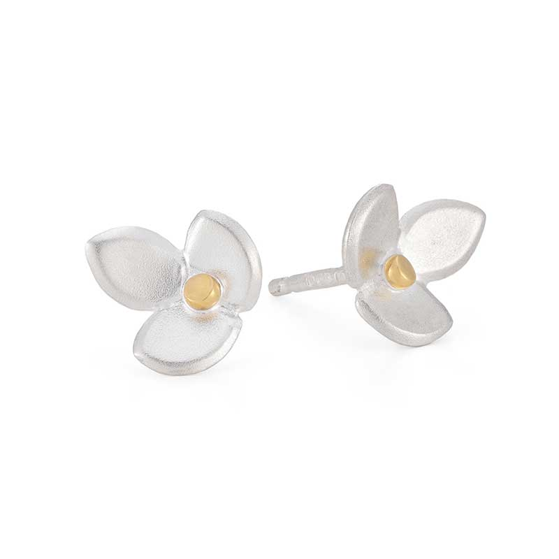 Eve Silver Gold Stud Earrings Jacks Turner Designer Jewellery Bristol Uk