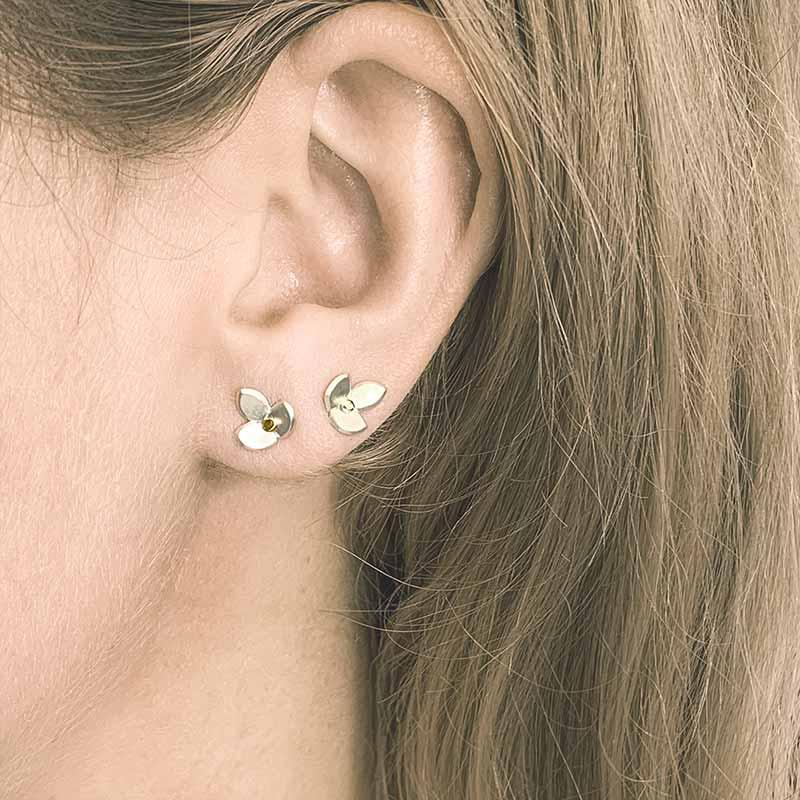 Eve Silver Gold Stud Earrings On Model Jacks Turner Designer Jewellery Bristol Uk