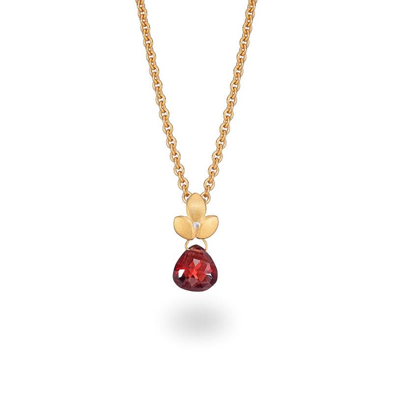 Garnet Drop Diamond Necklace Silver Gold Plated Jacks Turner Designer Jewellery Bristol Uk