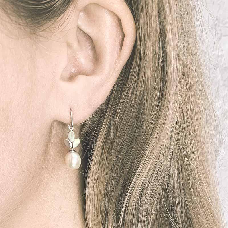 Pearl Drop Silver Earrings On Model Jacks Turner Contemporary Jewellery Bristol Uk