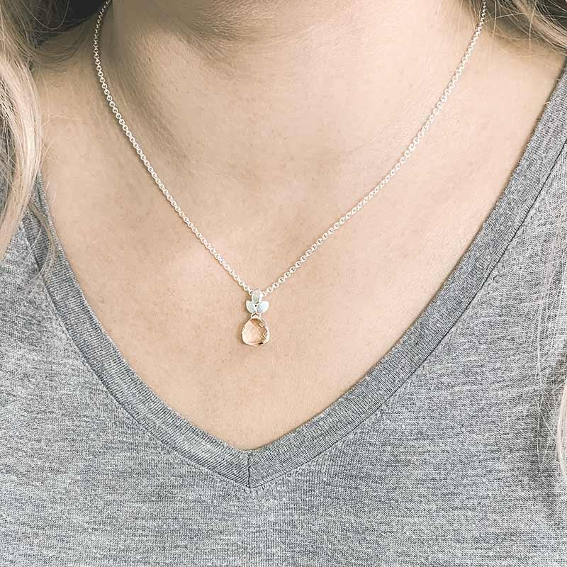 Rock Crystal Silver Necklace On Model Jacks Turner Designer Jewellery Bristol Uk