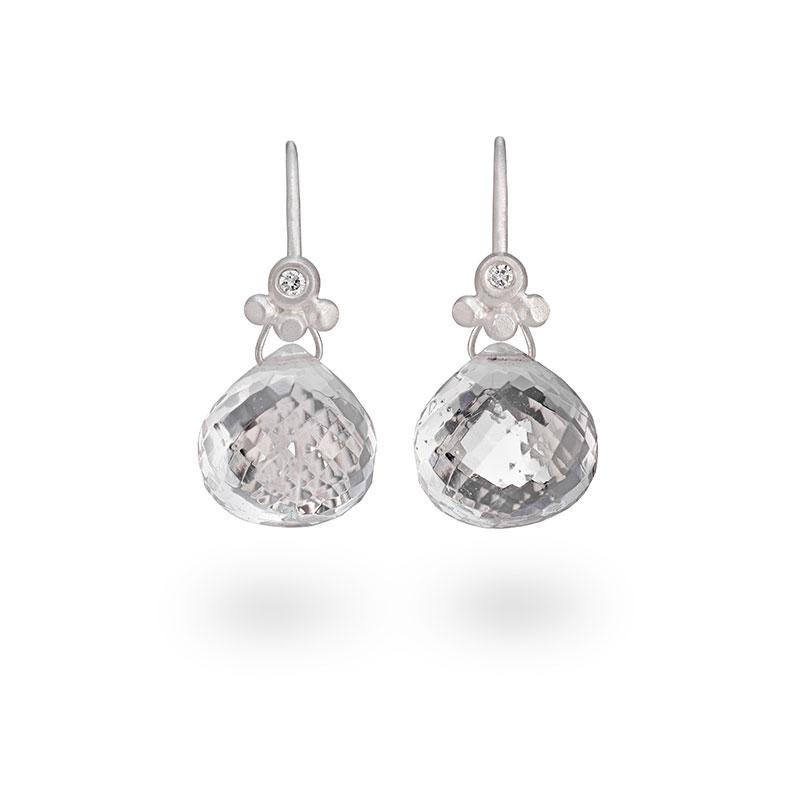 Rock Crystal Drop Earrings Silver With Diamonds Jacks Turner Designer Jewellery Bristol Uk