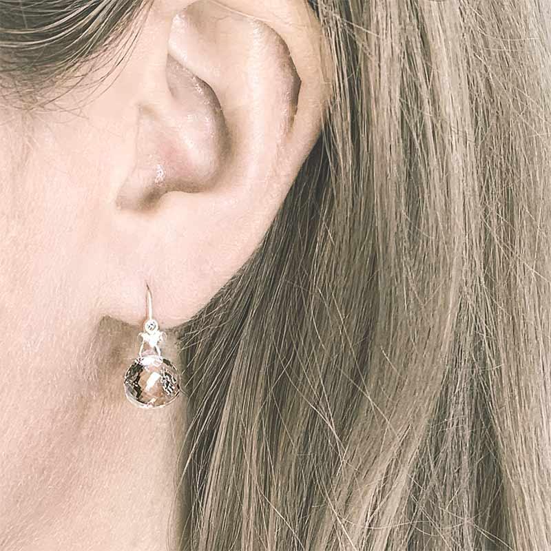 Rock Crystal Drop Earrings Silver With Diamonds On Model Jacks Turner Designer Jewellery Bristol Uk.