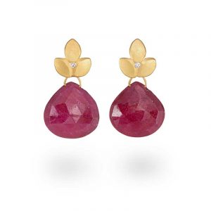 Ruby earrings with a tiny diamond. Handmade in silver with 22ct gold plate. July's birthstone. Designed by Jacks Turner in her Bristol jewellery workshop.