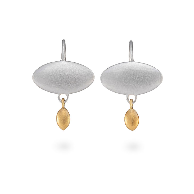 Silver Ellipse Gold Drop Earrings Jacks Turner Designer Jewellery Bristol Uk