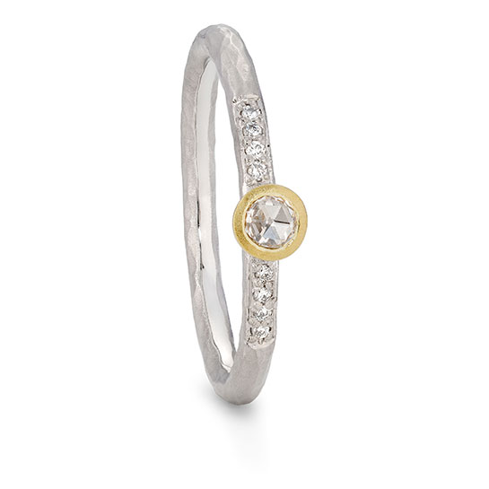 Solitaire Rosecut Diamond Pave Ring Textured Platinium And Gold By Jacks Turner Bristol