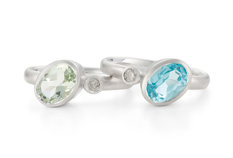 Asymmetric Gemstone Silver Rings Designed By Jacks Turner