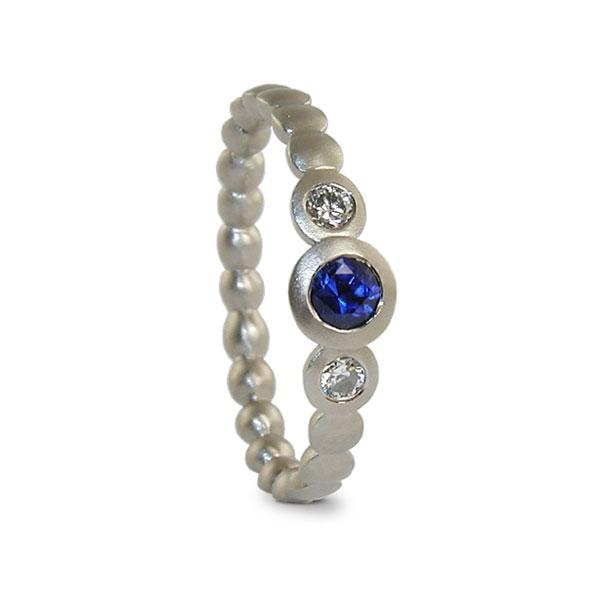 Blue Sapphire And Diamond Ring White Gold Engagement Designed Jacks Turner