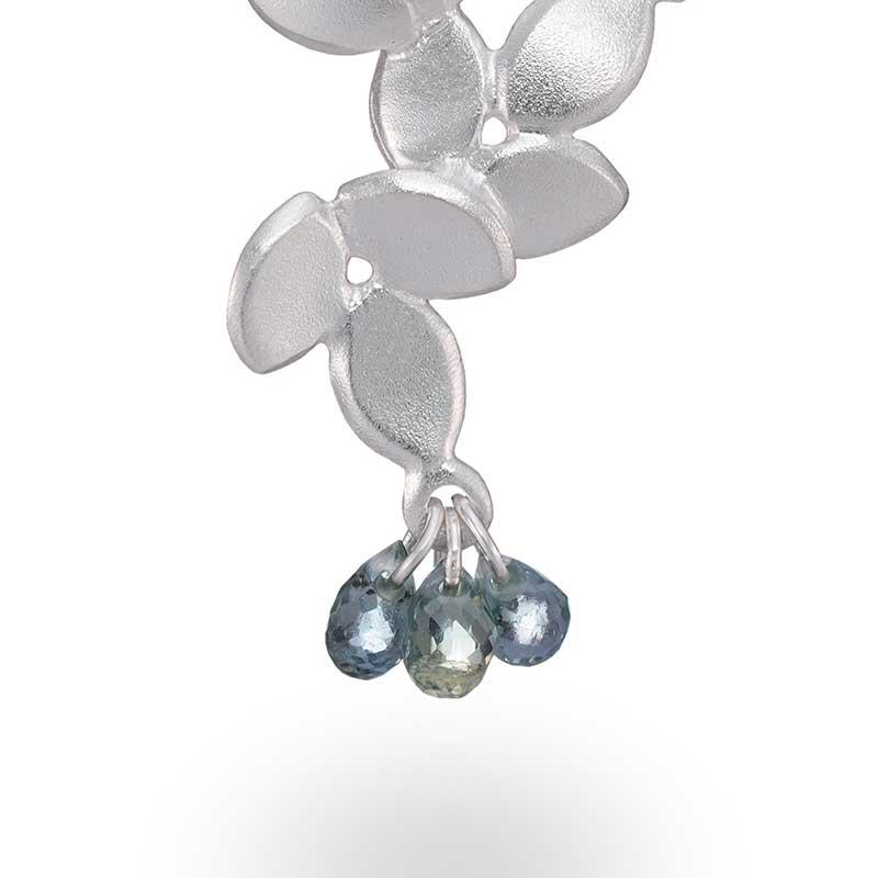 Close Up Three Sapphires Silver Necklace Jacks Turner Designer Jewellery Bristol Uk