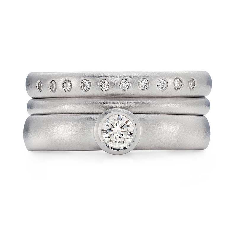 Diamond Engagement Ring Platinum 2Mm Wedding Ring 10 Diamond 3Mm Eternity Ring Designed By Jacks Turner Bristol Jeweller