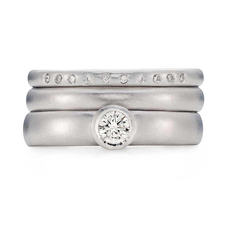 Diamond Engagement Ring Platinum 3Mm Wedding Ring 10 Diamond 2Mm Eternity Ring Designed By Jacks Turner Bristol Jeweller