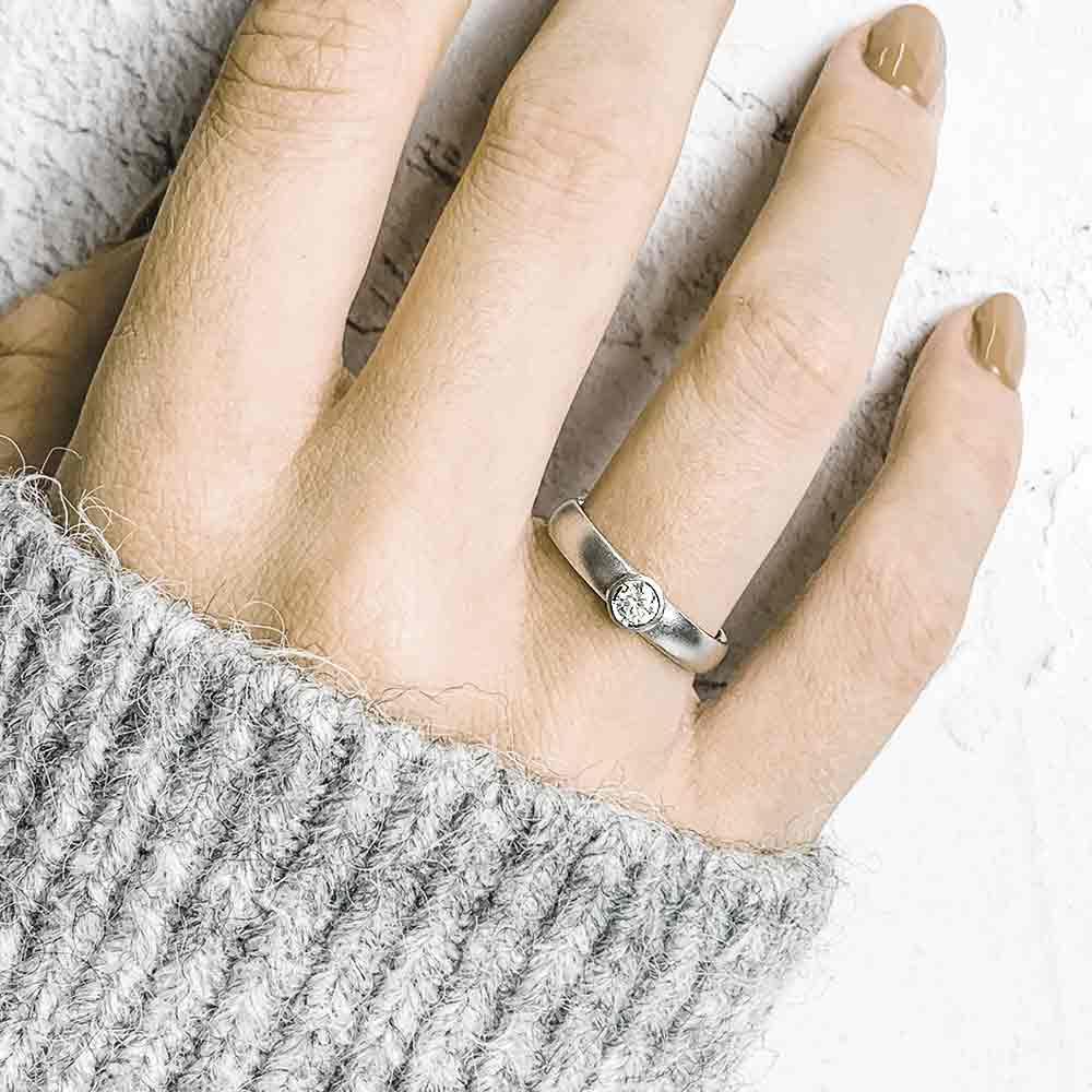 Diamond Engagement Ring Platinum On Model Designed By Jacks Turner Bristol Jeweller Uk