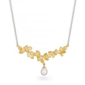 Diamond Pearl Necklace Silver Gold Plated Designer Jacks Turner