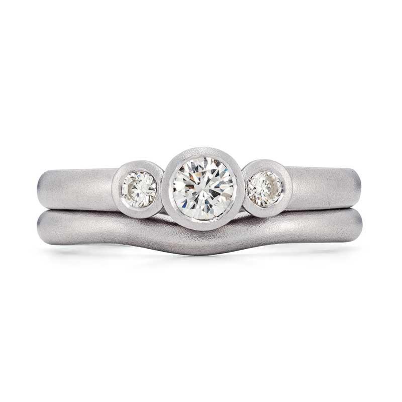 Diamond Trilogy Engagement Ring Platinum 2Mm Curved Wedding Ring Designed By Jacks Turner Bristol Jeweller
