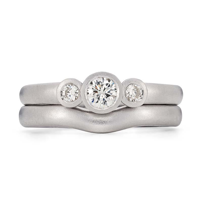 Diamond Trilogy Engagement Ring Platinum 3Mm Curved Wedding Ring Designed By Jacks Turner Bristol Jeweller