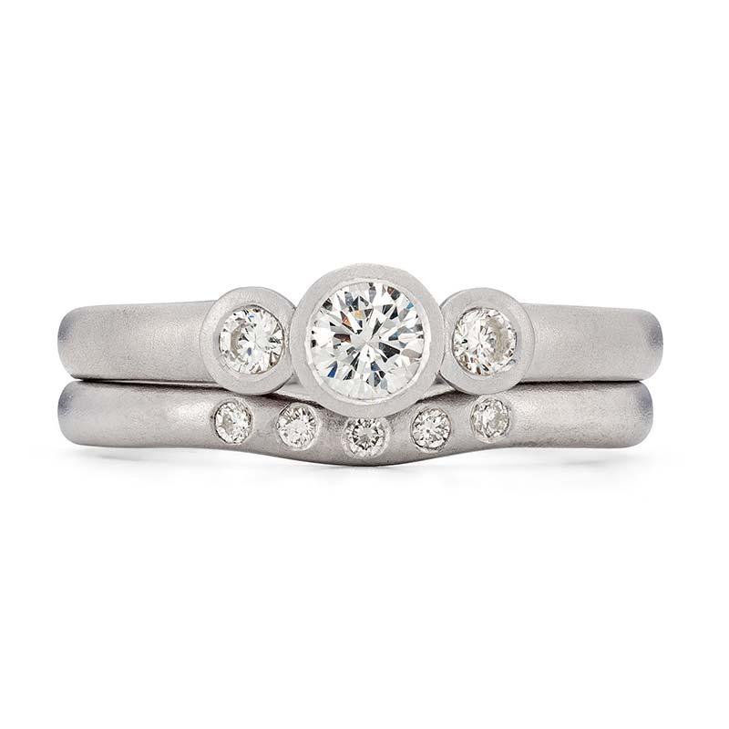 Diamond Trilogy Engagement Ring Platinum 5 Diamond 2Mm Curved Wedding Ring Designed By Jacks Turner Bristol Jeweller
