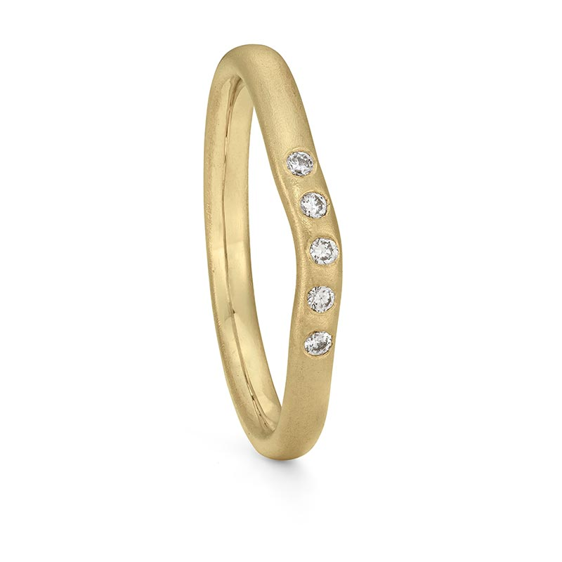 Five Diamond Curved Wedding Ring Gold Designed By Jacks Turner Bristol Jeweller