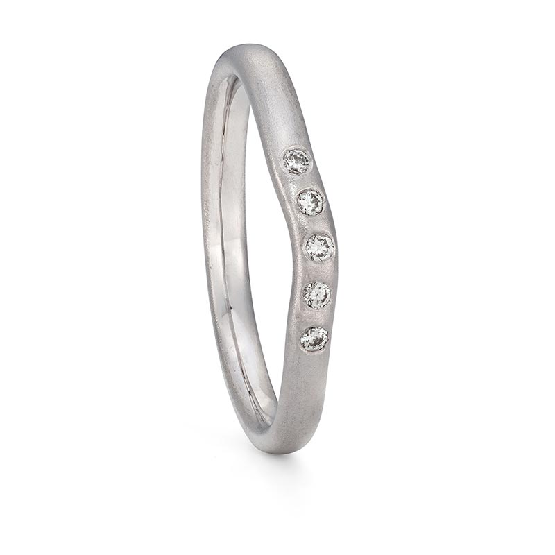 Five Diamond Curved Wedding Ring Platinum Designed By Jacks Turner Bristol Jeweller