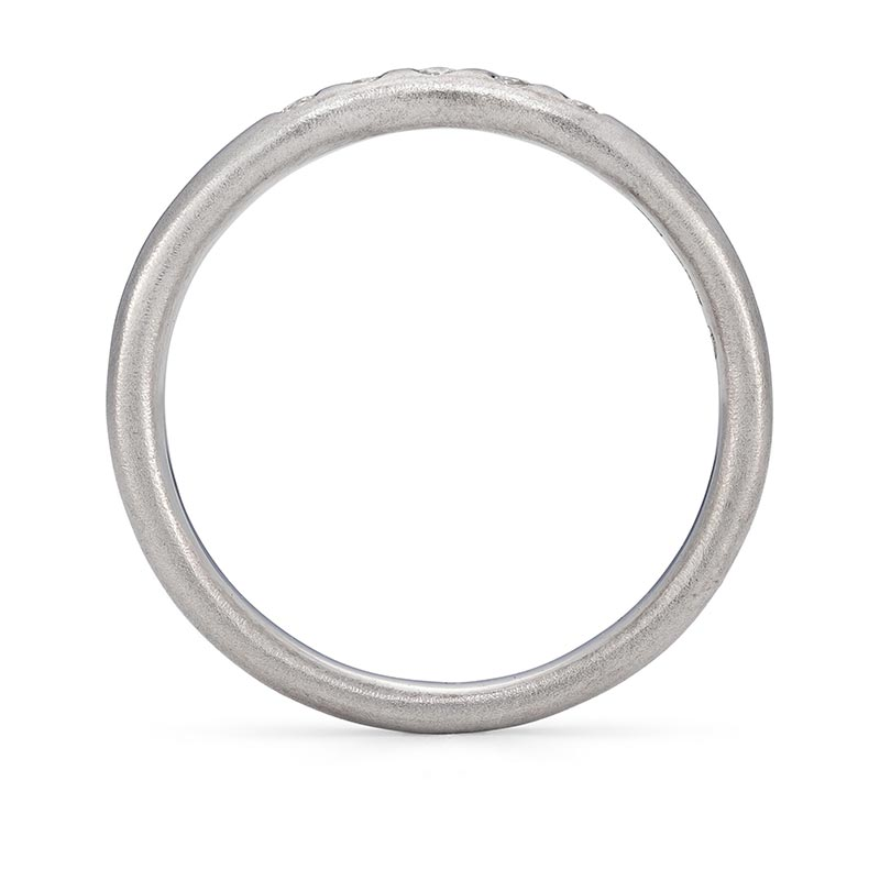Five Diamond Curved Wedding Ring Platinum Front View Designed By Jacks Turner Bristol Jeweller