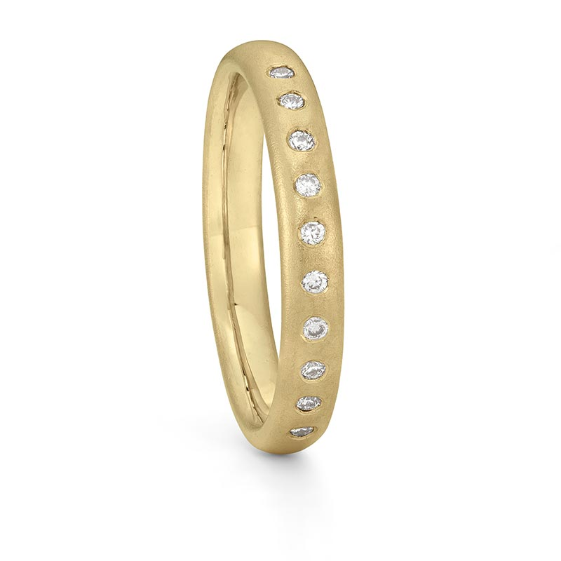Gold Diamond Wedding Ring 3Mm Wide Designed By Jacks Turner Bristol Jeweller