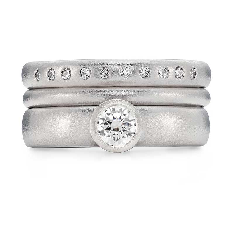 Grand Diamond Engagement Ring Platinum 2Mm Wedding Ring 10 Diamond 3Mm Eternity Ring Designed By Jacks Turner Bristol Jeweller