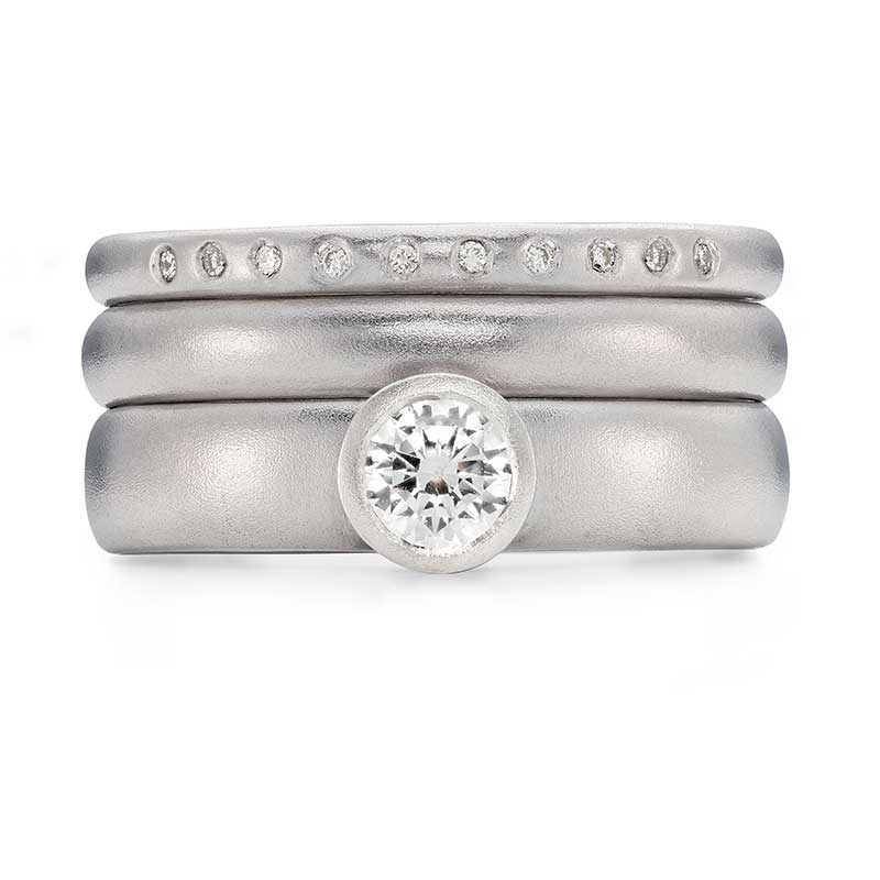 Grand Diamond Engagement Ring Platinum 3Mm Wedding Ring 10 Diamond 2Mm Eternity Ring Designed By Jacks Turner Bristol Jeweller