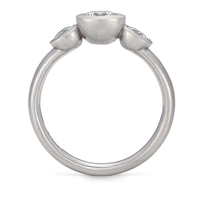Grand Diamond Trilogy Ring Platinum Engagement Front View Designed By Jacks Turner Bristol Jeweller
