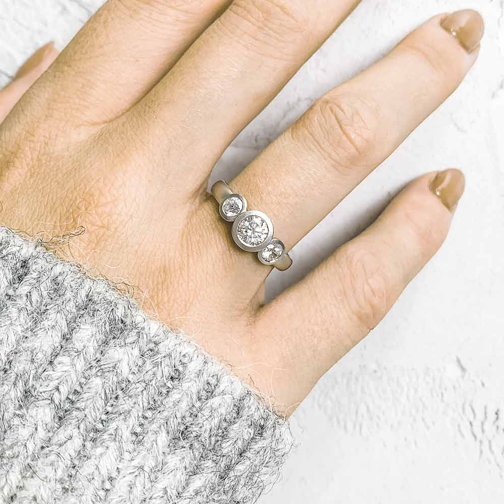 Grand Diamond Trilogy Ring Platinum Engagement On Model Designed By Jacks Turner Bristol Jeweller