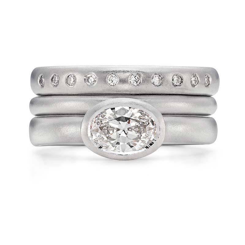 Grand Oval Diamond Engagement Ring Platinum 2Mm Wedding Ring 10 Diamond 3Mm Eternity Ring Designed By Jacks Turner Bristol Jeweller