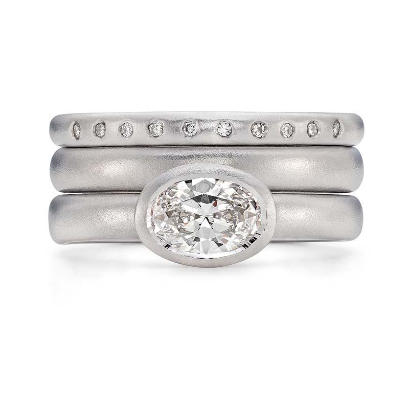 Grand Oval Diamond Engagement Ring Platinum 3Mm Wedding Ring 10 Diamond 2Mm Eternity Ring Designed By Jacks Turner Bristol Jeweller