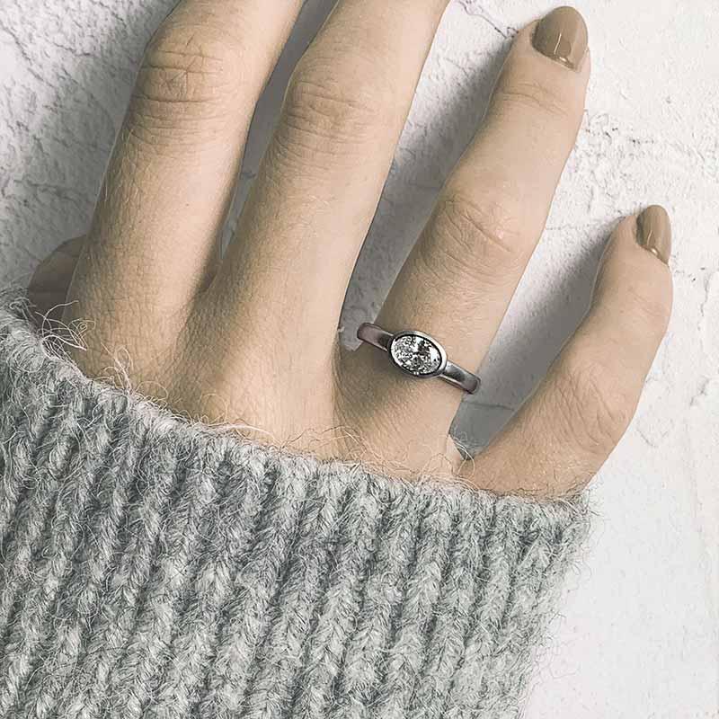 Grand Oval Diamond Ring On Model Platinum Engagement Ring Designed By Jacks Turner Bristol Jeweller
