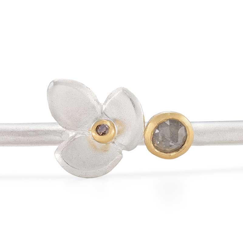 Grey Rosecut Diamond Closeup On Eve Cuff Bracelet Jacks Turner Designer Jewellery Bristol Uk
