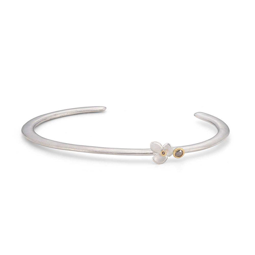 Grey Rosecut Diamond Silver Cuff Bracelet Jacks Turner Designer Jewellery Bristol Uk